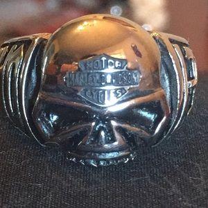Harley Davidson Skull Ring with Bar & Shield Logo
